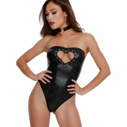 Dreamgirl Stretch Faux Leather Strapless Teddy Set