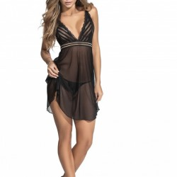 Mapale Black Babydoll with Matching G-String